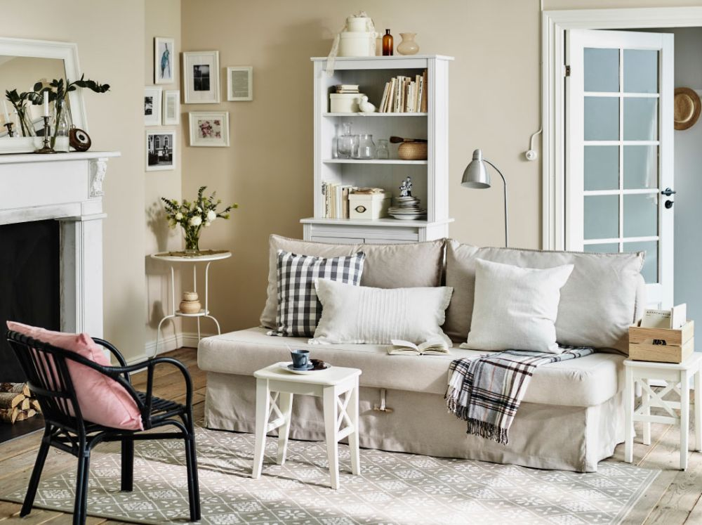 cottage living room design ideas with a beige sofa-bed combined with small white side table outstanding side table to beautify living room