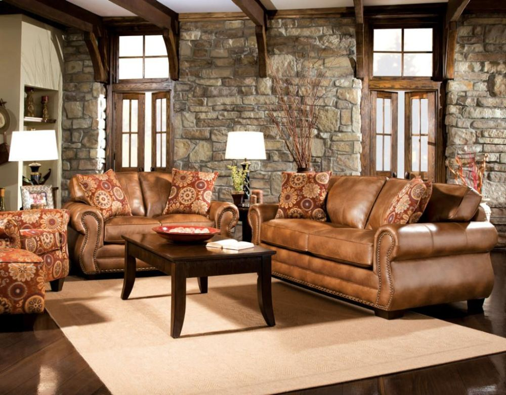 country living room ideas with light brown leather sofa and stone wall rustic dark brown leather sofas: great investment for warm and welcoming living rooms
