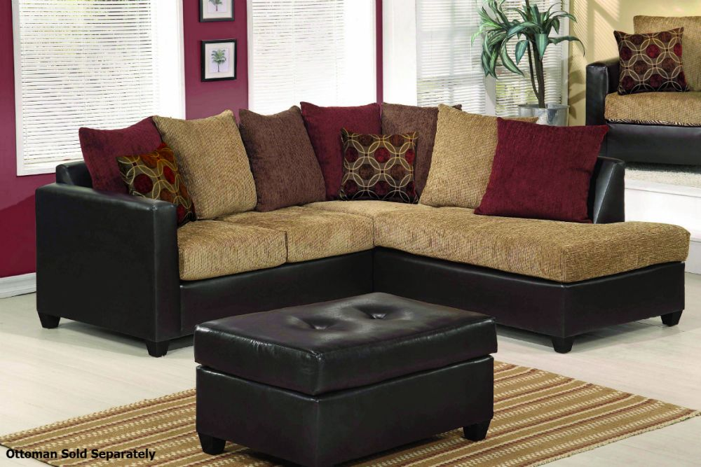 L Shaped Brown Sofa With Turquoise Square Ottoman In