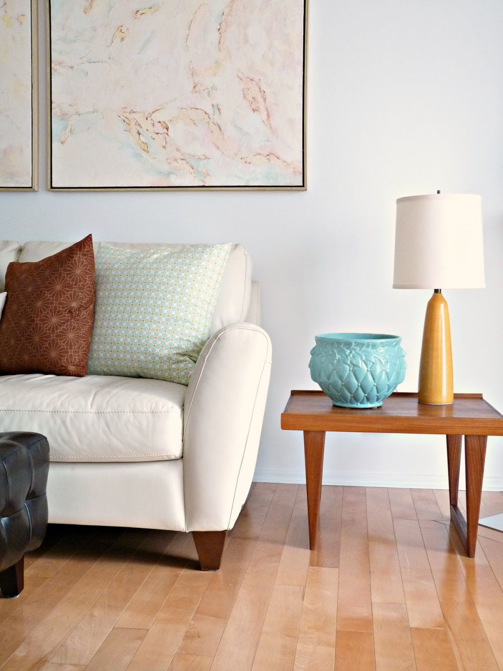 simple wooden side table that beautifies a living room design with white sofa outstanding side table to beautify living room
