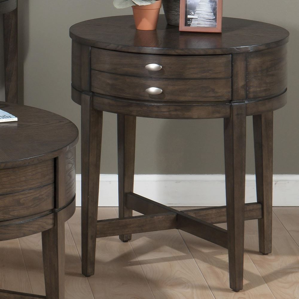 Small Round Side Table With Drawer For Living Room With