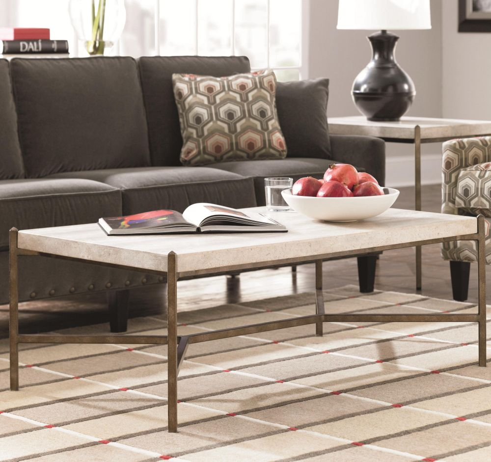 fabulous rectangle white marble table top stands tith the brown metal frame enhancing the living room with stone top coffee table