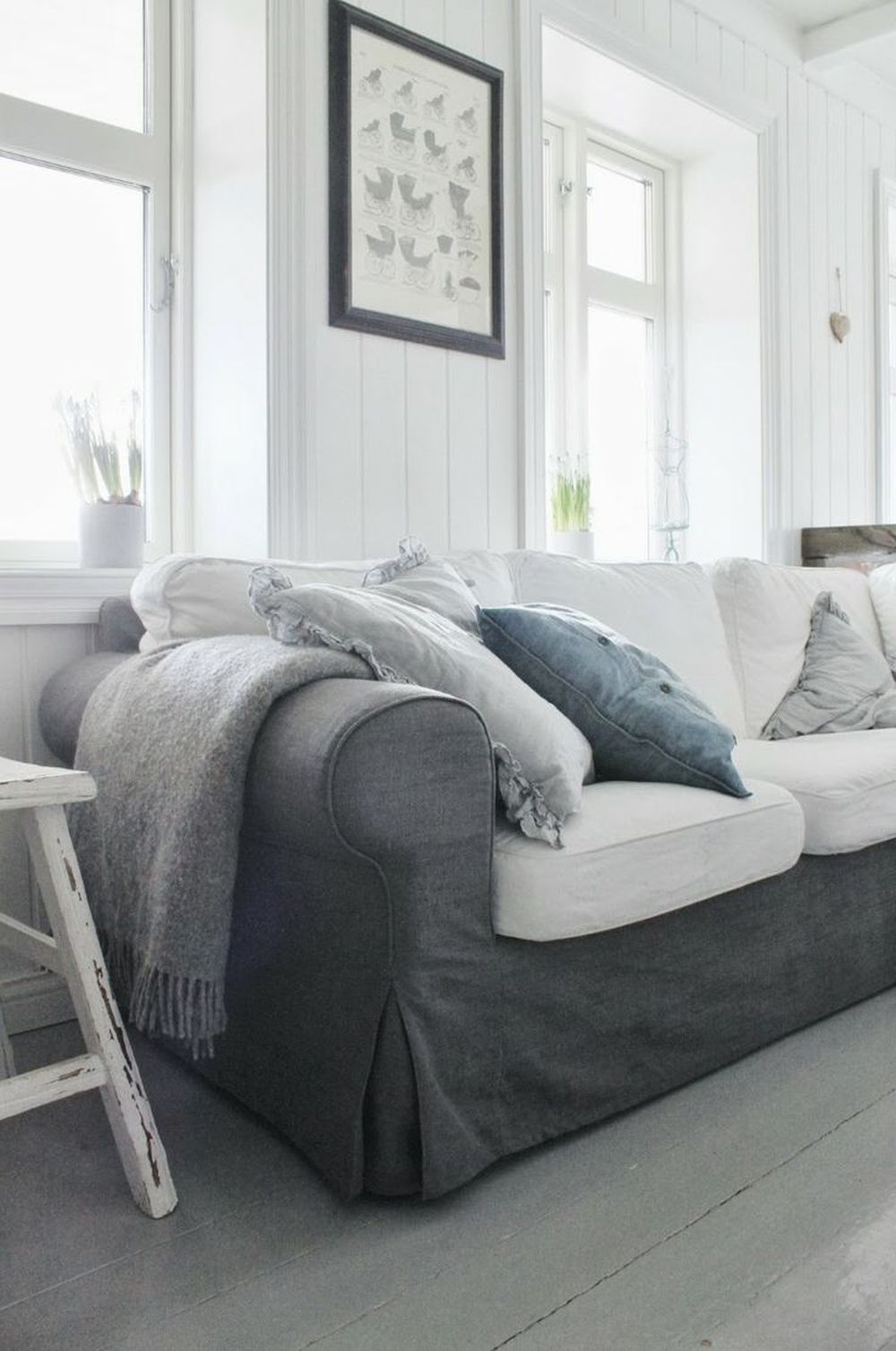 gray slip covered ektorp sofa with combination of gray and white slipcovers slip covered sectional sofa design with some tips to choose colors