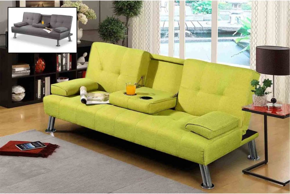 lemonade minimalist sofa bed nyc with a small coffee table folded from the backrest sofa beds nyc to make your days even more enjoyable