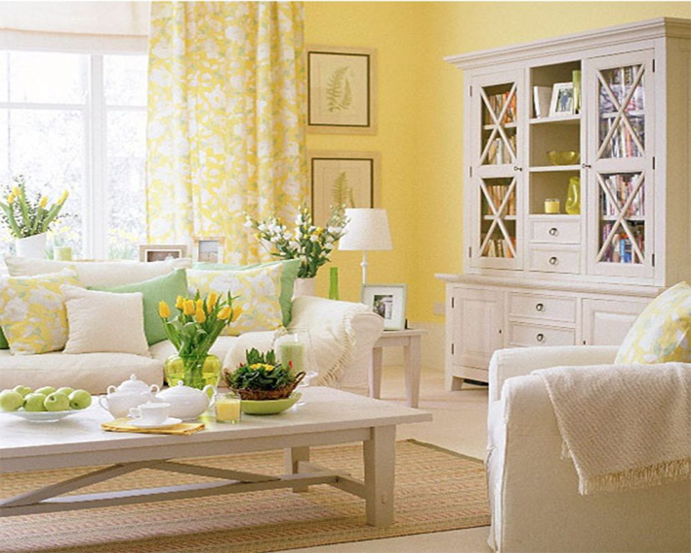living room with yellow spring decoration visualized with tulip flower and candle on the rustic white wooden coffee table comely spring decorations for the home making you reluctant to leave it