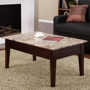 modest small rectangle granite table with dark brown wooden legs and the catchy stone top enhancing the living room with stone top coffee table