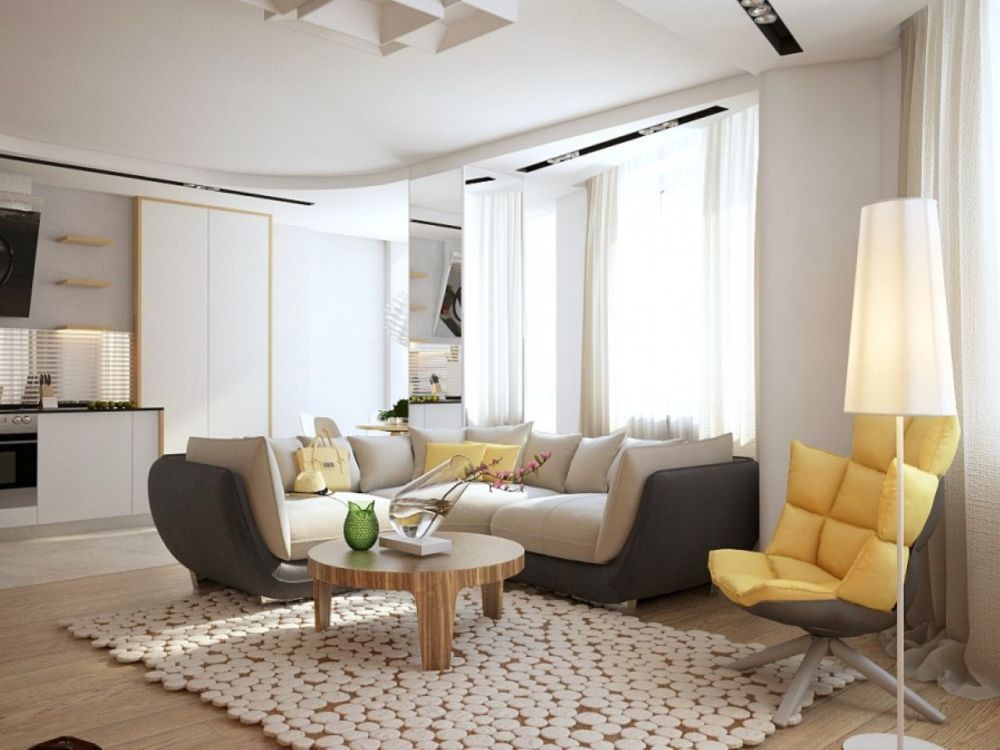 open plan layout of living room with swivel chair in the corner and yellow padded backrest appealing swivel chairs for living room