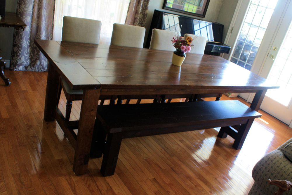 rustic kitchen nook sets in rectangle wood table with dark brown color maintaining the integrity of the family with solid wood dining room sets