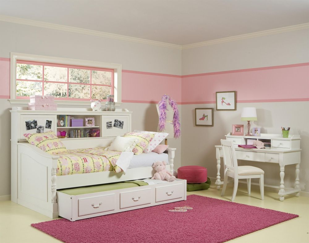 simple bedroom for girl with white loft bed design including trundle bed also three under bed drawers pretty teen girl bedroom furniture designs