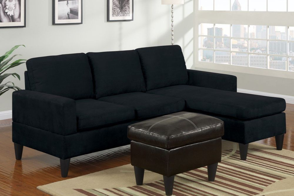 simple sofa design made from black microfiber with chaise and small coffee table sofas under 200 and 300 – finding affordable sofa ideas