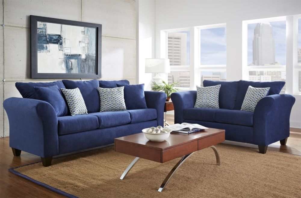 super bright blue sofa made of velvet fabric with light blue cushions sofa and loveseat sets present perfect details for every interior