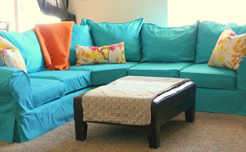 turquoise slip cover with floral pillow pattern slip covered sectional sofa design with some tips to choose colors