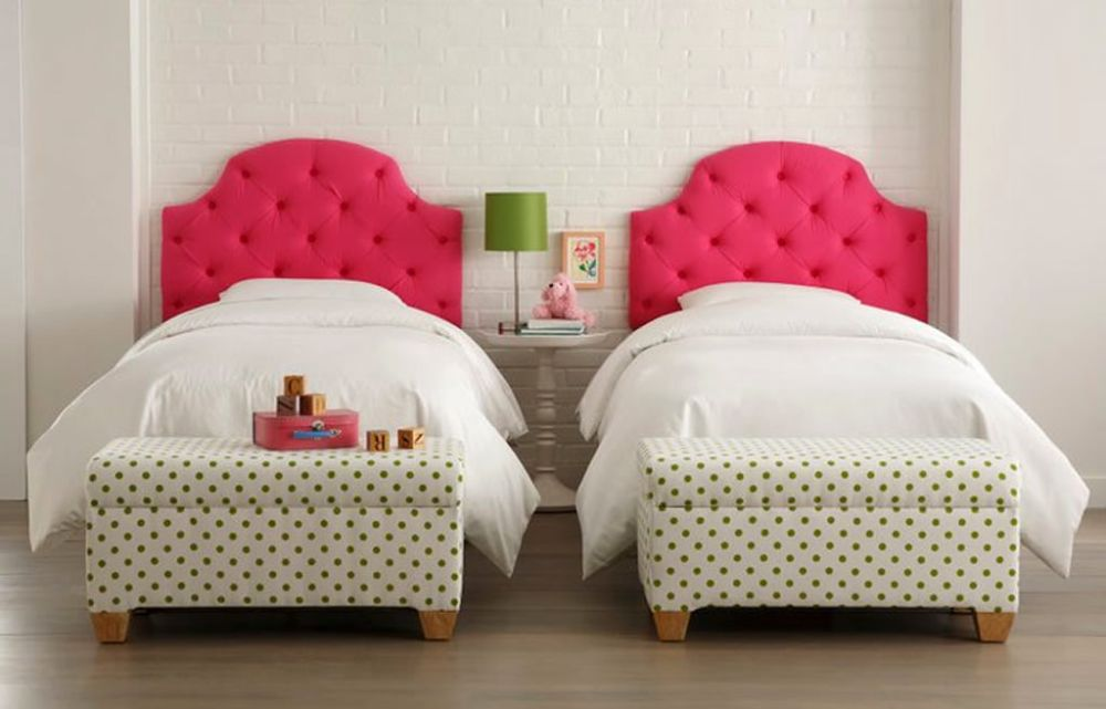 white twin bedroom for girl with two white benches in green spotty pattern dashing storage bench for bedroom that giving compact outlook and new nuance
