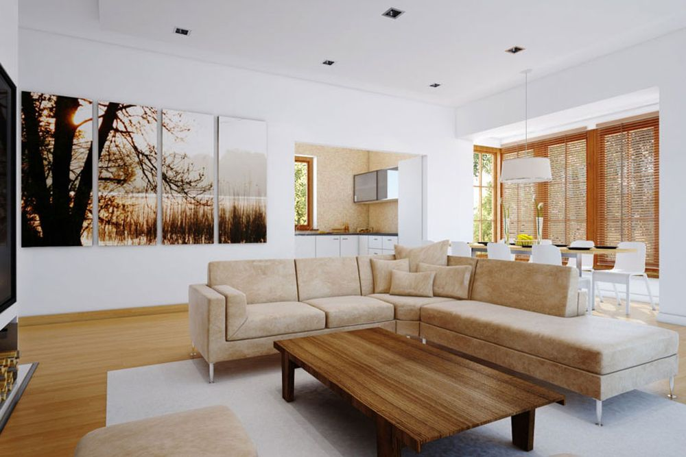 awesome and entertaining white scheme living room with separated painting that makes the space looks artsy entertaining wall decoration for living room design