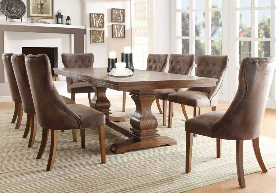 brown vintage tufted seat mixes the elegant dark brown table splendid tufted dining room chairs keeping the favorable atmosphere