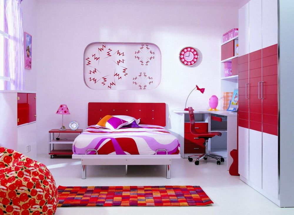Cheap Red Childrens Bedroom Furniture Sets with Desk and Red Bean Bag