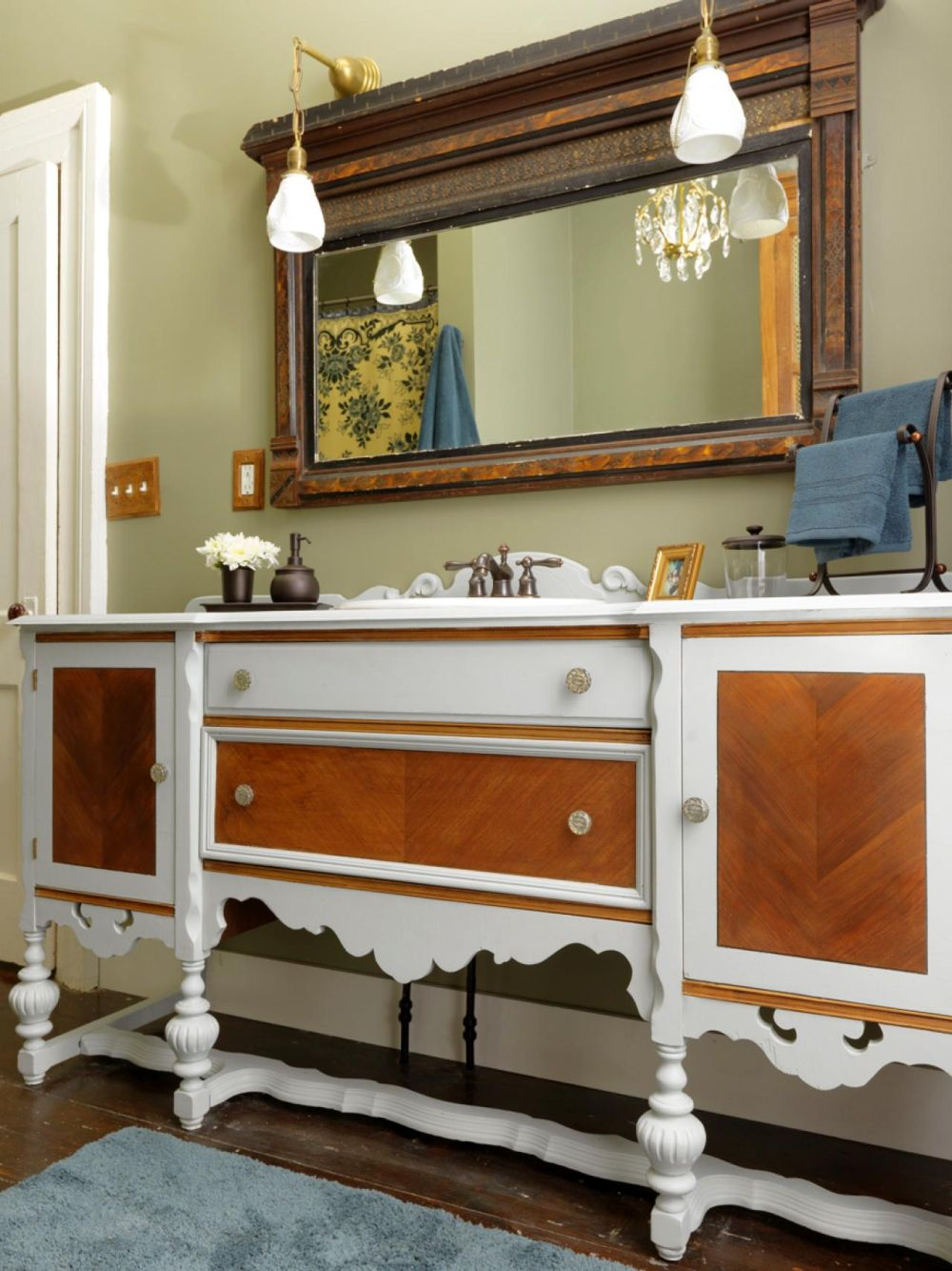 classic used vanity for a bathroom design with brown and white palette plus ornamented rectangular mirror outstanding used vanity for bathroom design