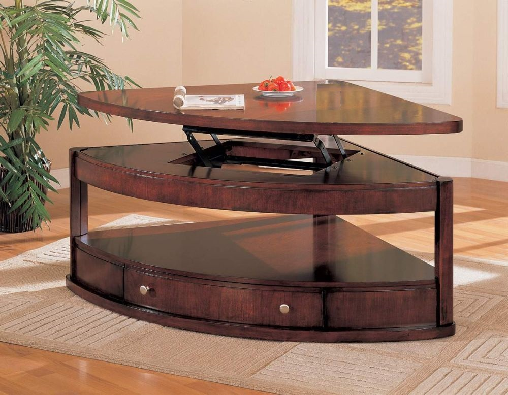 custom large wedge shaped end table with black metal retractable cantilever decorating living room with triangle end table that exciting for all