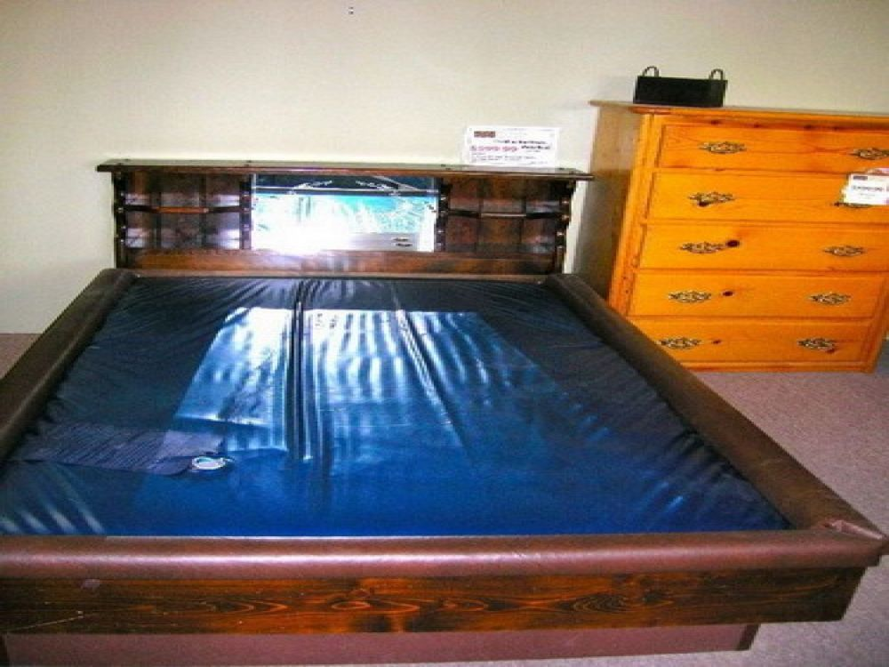 custom queen waterbed with brown wooden frame and sleek blue mattress remarkable waterbeds for sale as the new health life way