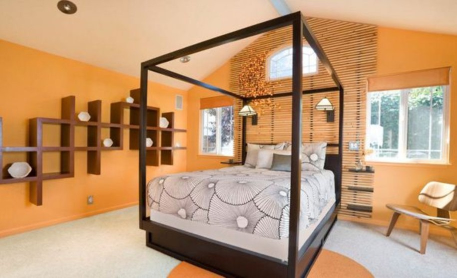 elegant tropical furniture set for orange bedroom color with traditional dark brown wooden canopy bed stunning tropical bedroom furniture that affordable in cost