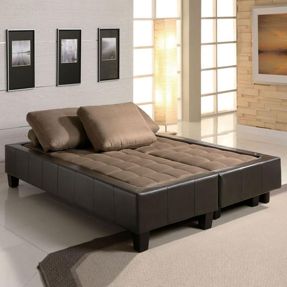 excellent sofa beds with pampering brown cushions and black leather upholstered frame using modern twin size sofa bed ideas for surprising creative space