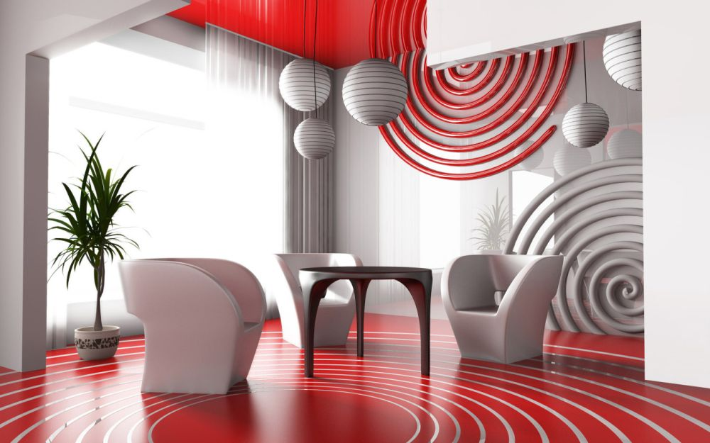 futuristic living room wall decor with artistic circle design entertaining wall decoration for living room design
