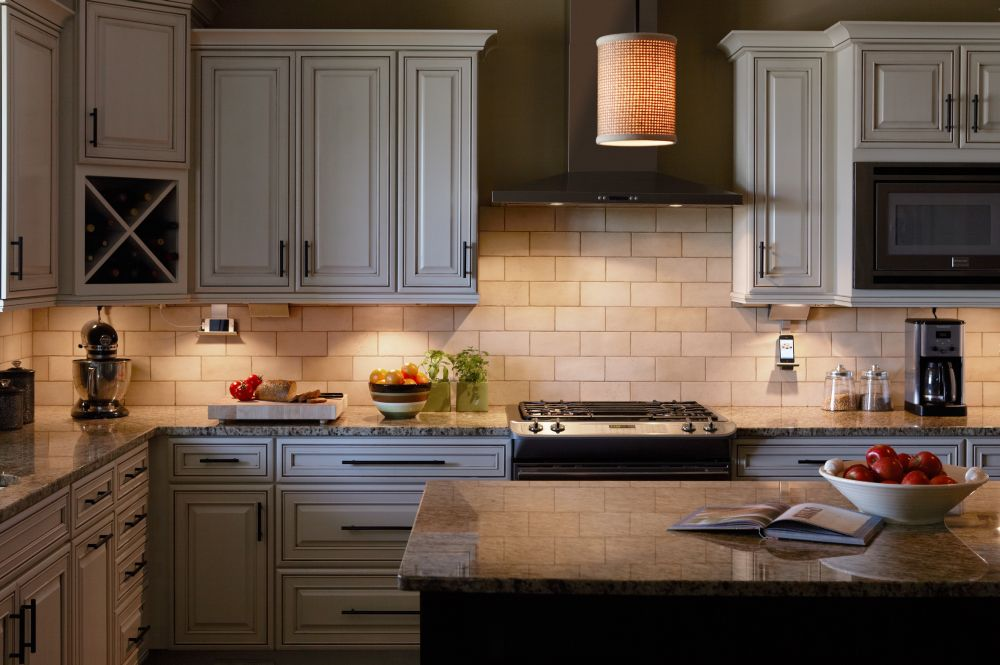 intimate yellow lights in traditional country kitchen and visualized with pendant lamp shade cool under counter lights for spellbind kitchen décor