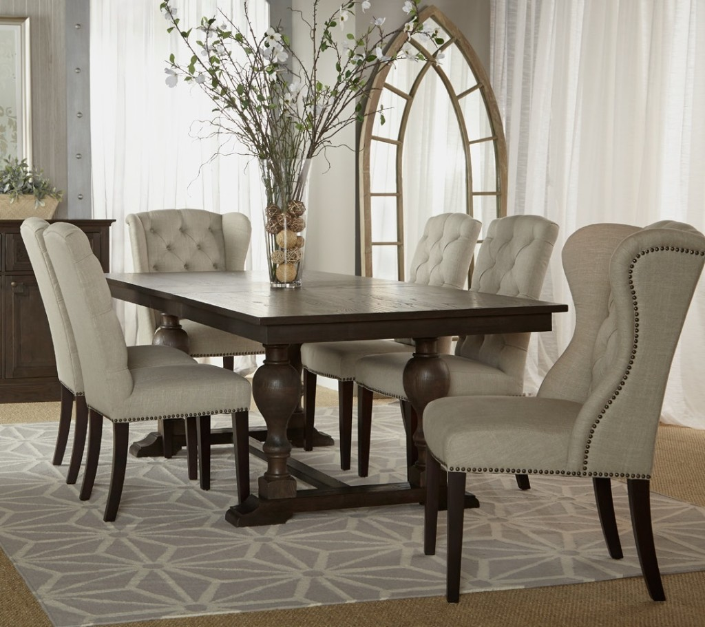 light grey tufted chairs with dark brown wooden legs splendid tufted dining room chairs keeping the favorable atmosphere