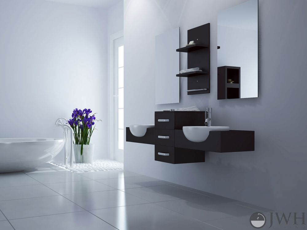 modus floating bathroom vanity with double sinks and storage wall mounted bathroom sink for better bathroom design
