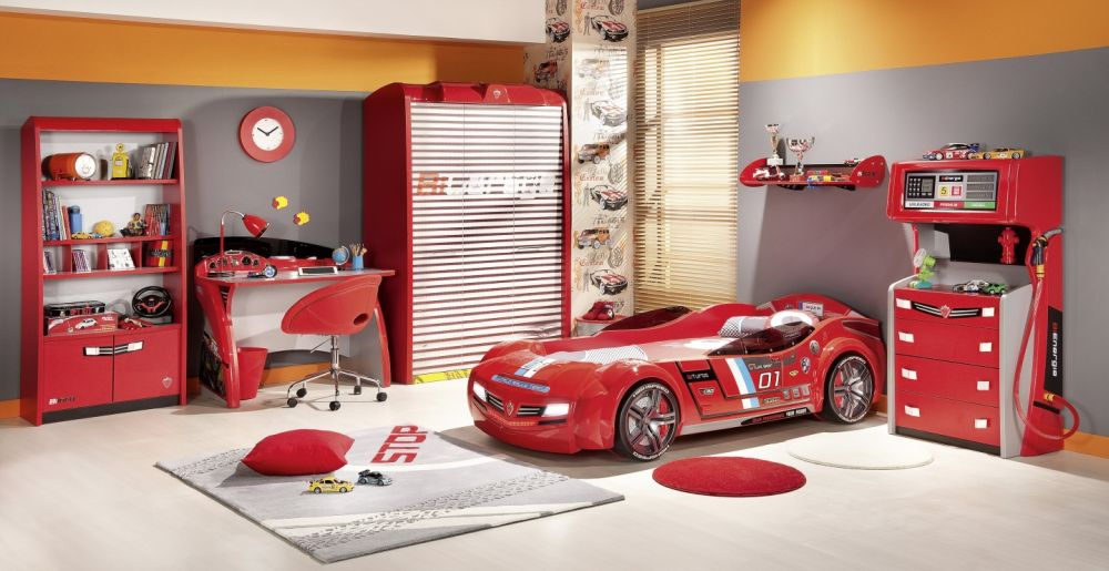 Red Car Themed Toddler Bedroom Design with Super Bright Red Tone