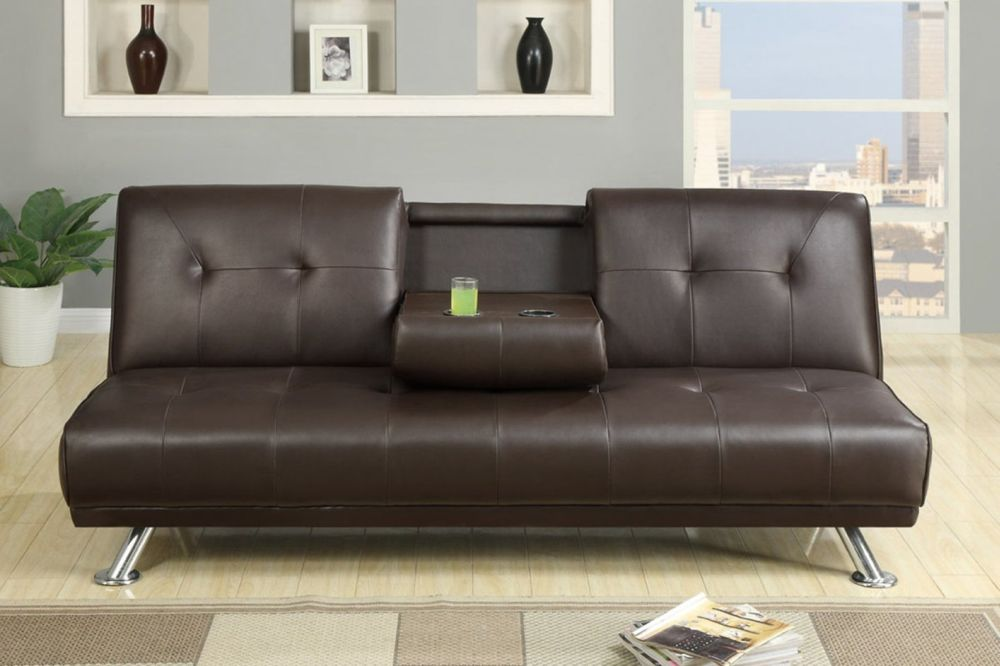 snazzy brown leather sofa bed with metal base furniture using modern twin size sofa bed ideas for surprising creative space