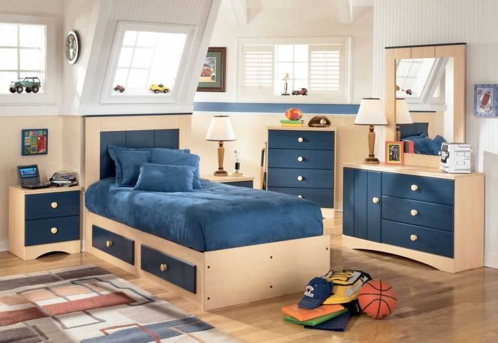 Storage Bedding Sets for Kids Without Space Underneath and Navy Blue Velvet Sheet