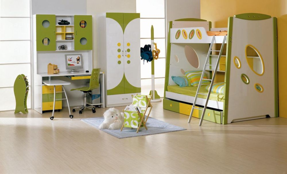 Toddler Bedroom Furniture Sets for Boys in Green Color Theme with Stairs and Desk