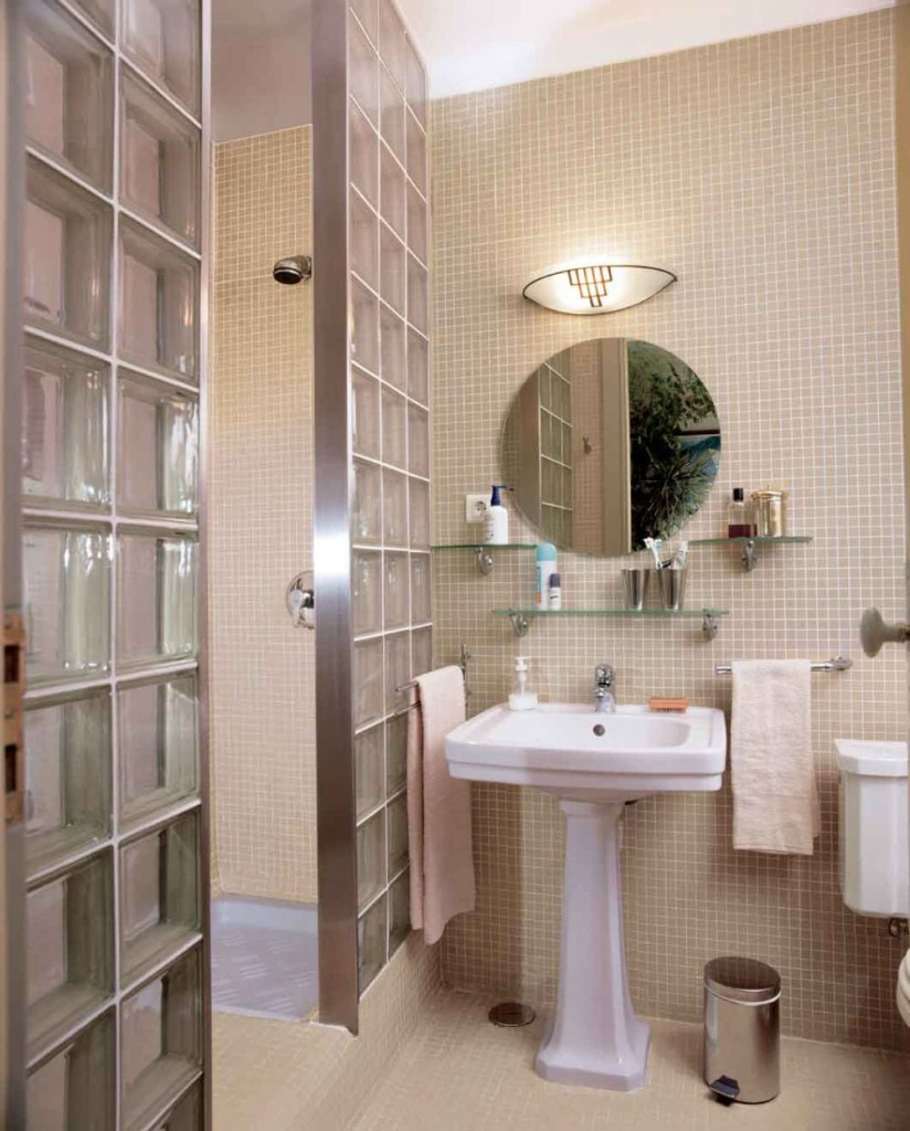 Unusual Wall Frameless Mirrors with Small Square Backspalsh and Glass Doors