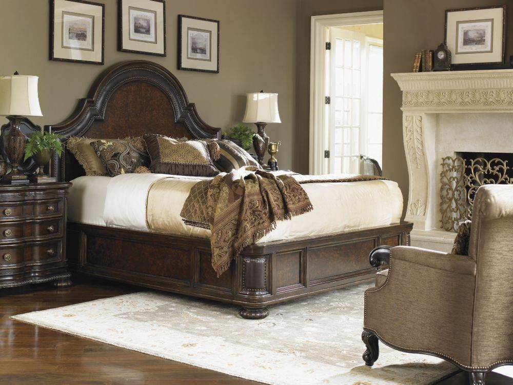 big lexington bed with dark brown finish and curved headrest entrancing lexington furniture set for bedroom design