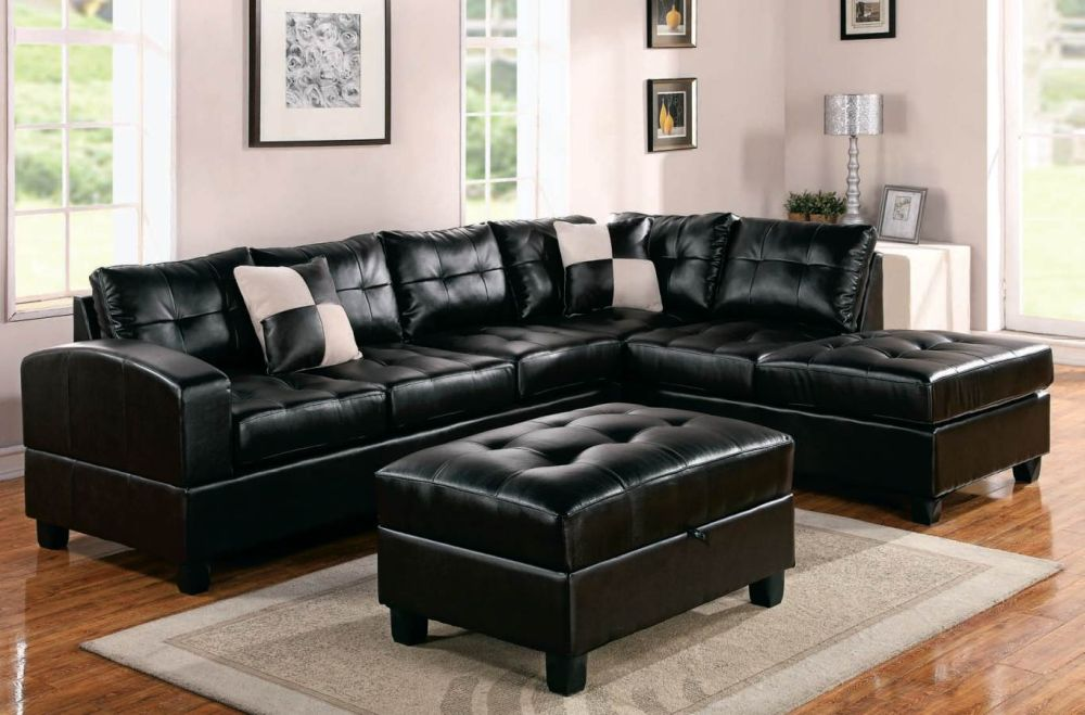 black leather sofa design with tuft texture on the surface and chaise flexsteel leather sofa – finding the most stylish design