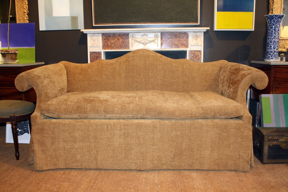 brown sofa slipcover from velvet material with padded reclining and the sleigh armrest changing the sense of the living room with camel back sofa
