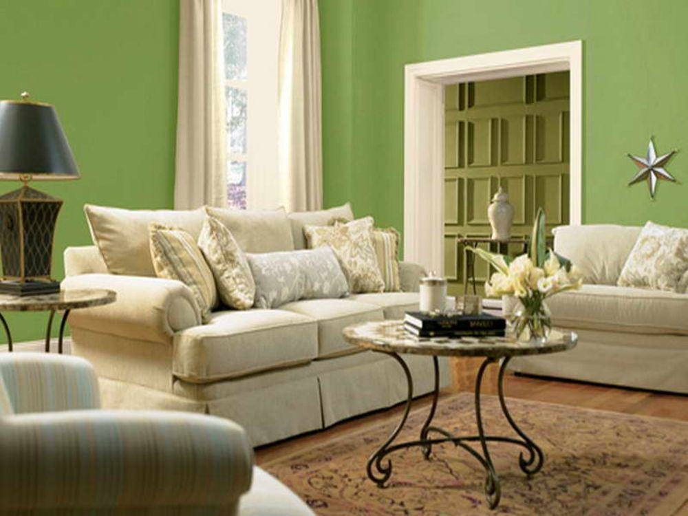 Calming Green Color Scheme for Living Room with Modest White Sofa Sets