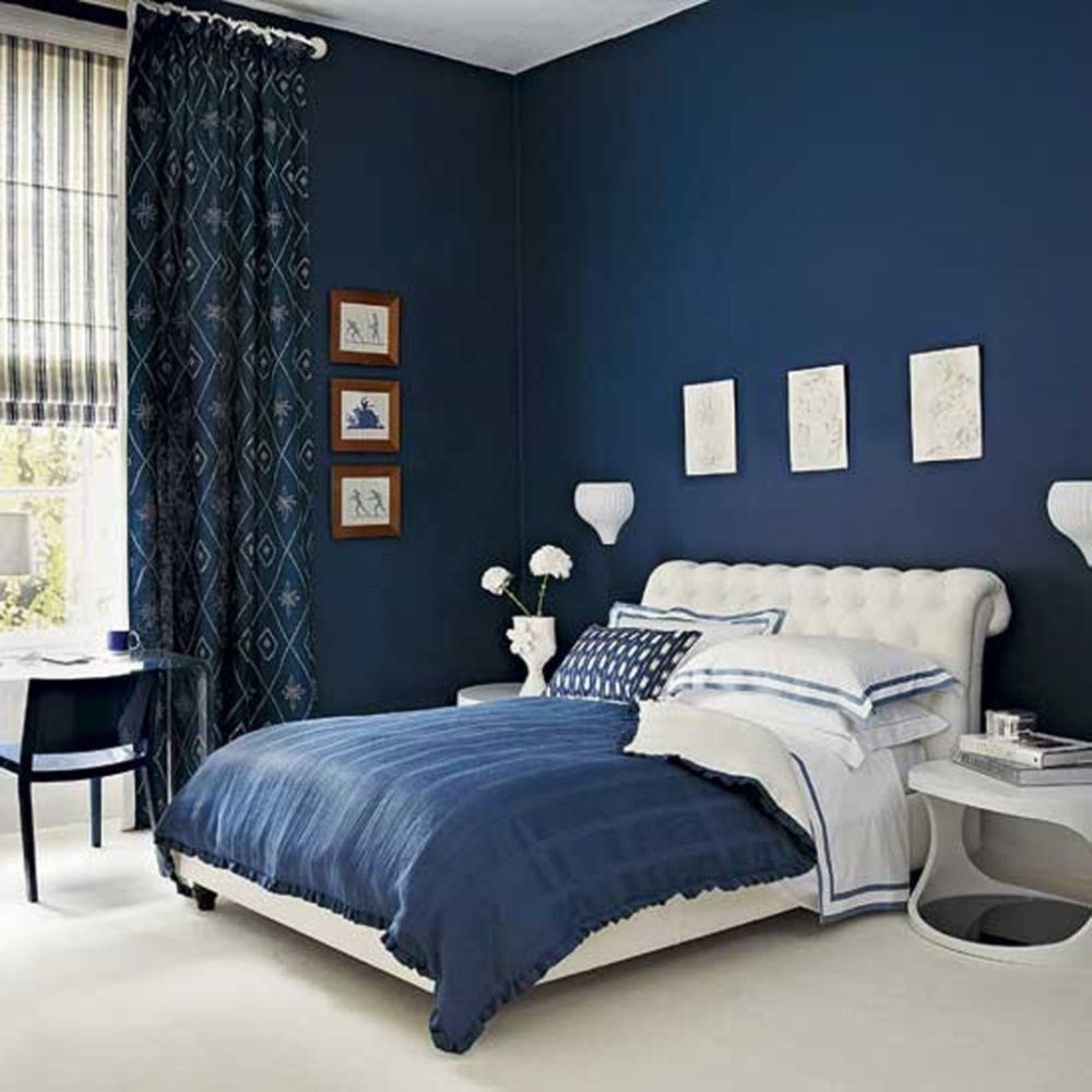 calming navy blue color bedroom with astounding window treatment and excellent furniture sets discovering the answer of what color should i paint my bedroom easily