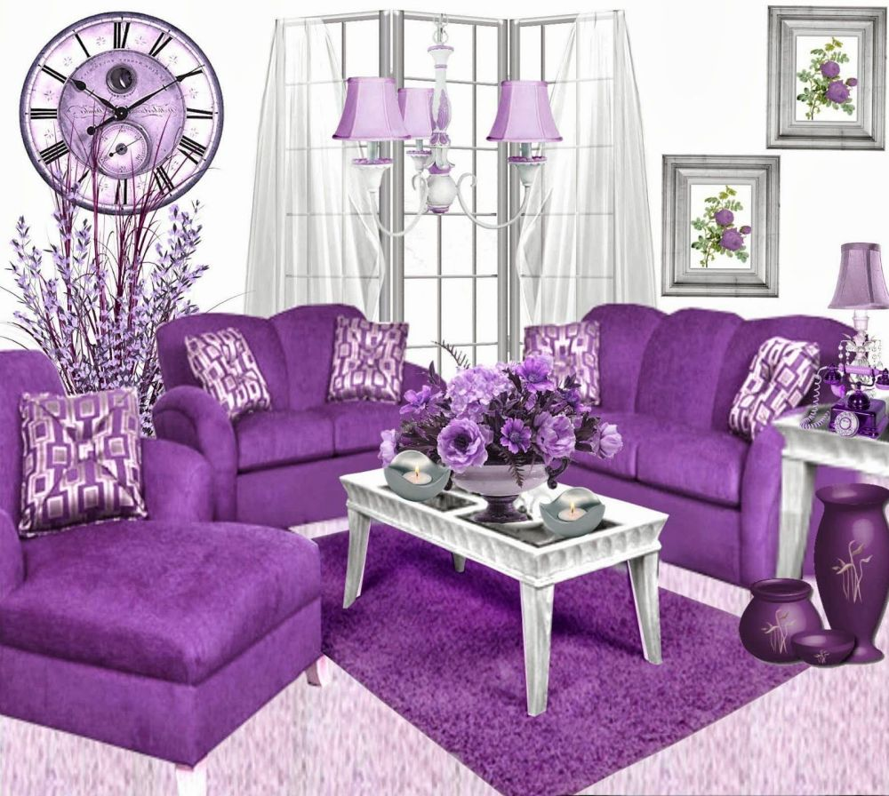 classic bright living room with art nouveau style and dashing purple loveseats with lounge chair looms in the center purple living room furniture coming with calming sense