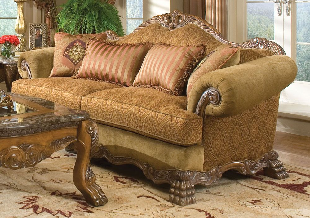 classy camel sofa on the captivating floral pattern area rug with the dashing engraving solid wood frame and base changing the sense of the living room with camel back sofa