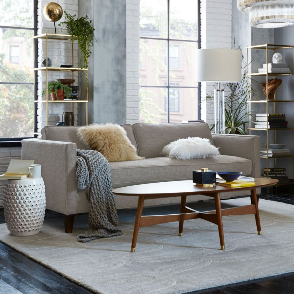 Down Filled Sofa with Chaise and Oval Wooden Table How to Play Fashionably with Down Filled Sofa Design living Room