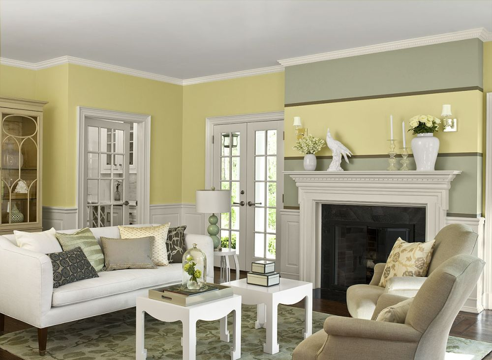 Eccentric Color Living Room Ideas Visualized with White, Yellow and Grey Color Combinations