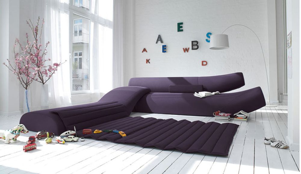 futuristic white living room with kid's playroom and uncategorized purple sectional sofa with extensive stripped cover purple living room furniture coming with calming sense