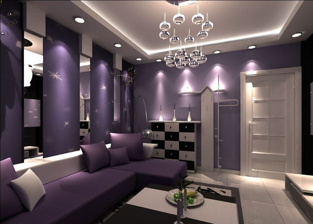 glamorous purple living room and the furniture sets with recessed lamps purple living room furniture coming with calming sense