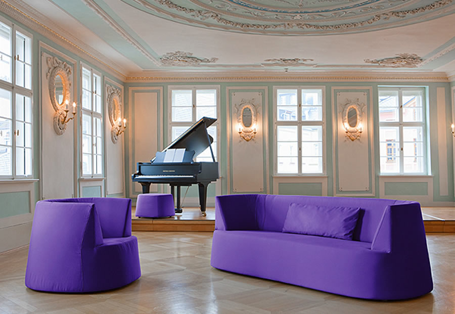 impressive art deco living room with three purple seats and one black piano purple living room furniture coming with calming sense