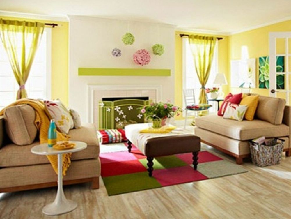 Living Room with Yellow Paint Color and Decorated with High White Fireplace Mantel and The French Window