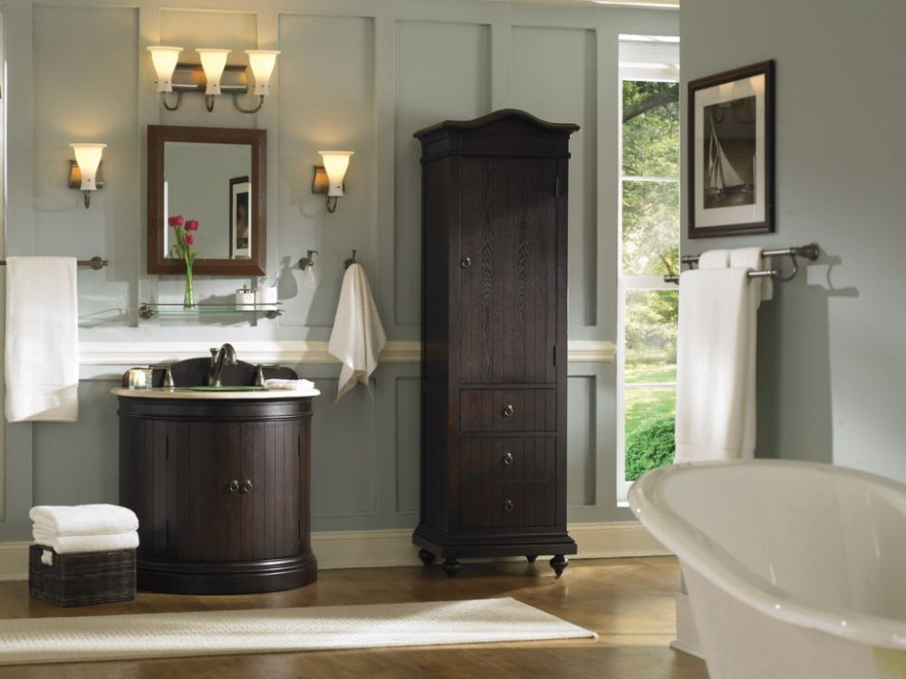 modest grey molding bathroom with rustic dark brown wooden vanity sets and nickel accessory changing the old steel with the unbeatable brushed nickel bathroom accessories