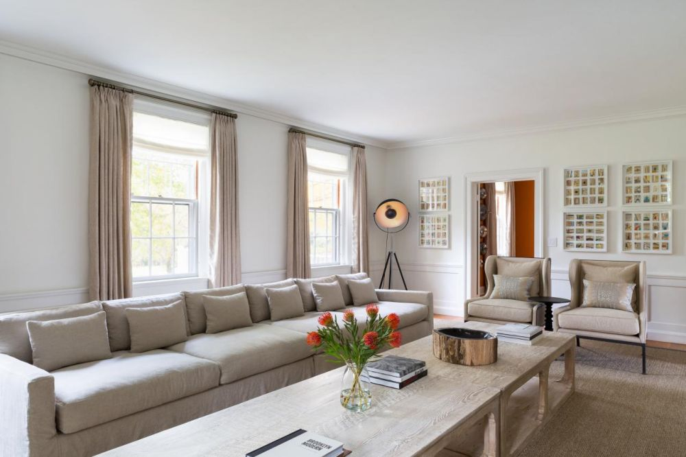 neutral transitional living room with long sofa chango and co litchfield countryside retreat presenting best interior design with extra long sofa