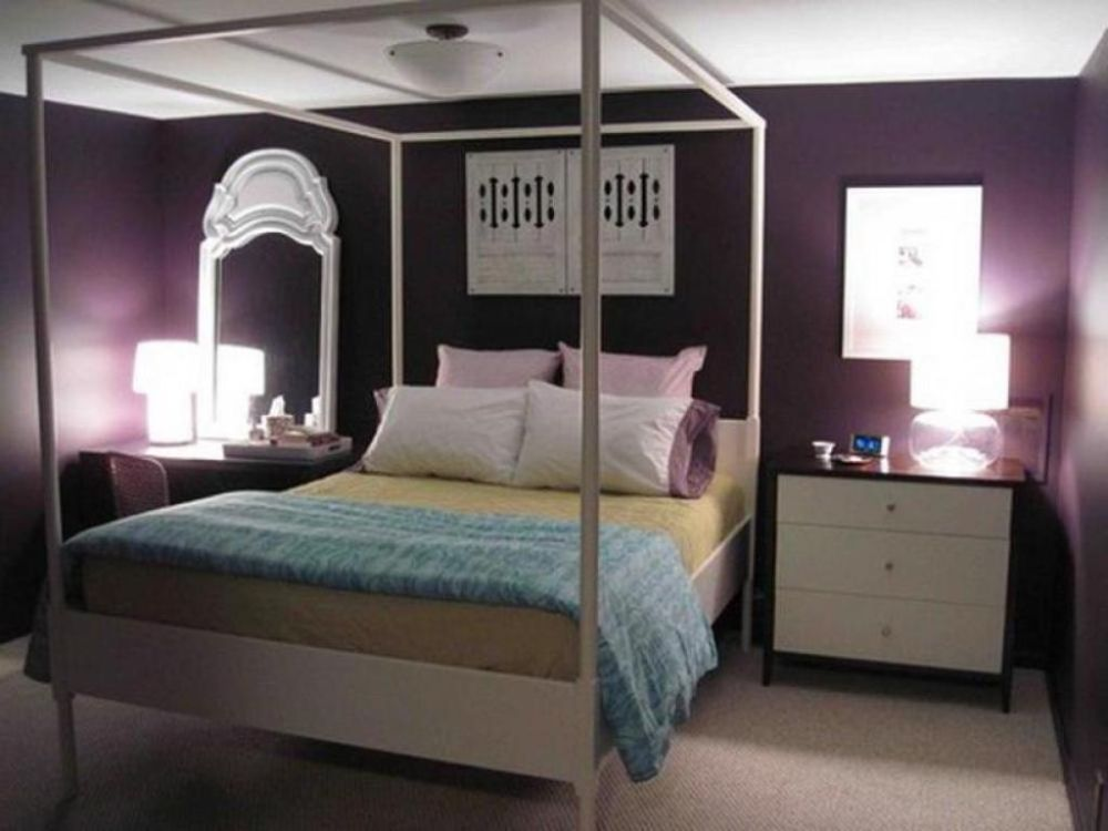 purple bedroom with glow lighting and classic modern furniture set discovering the answer of what color should i paint my bedroom easily